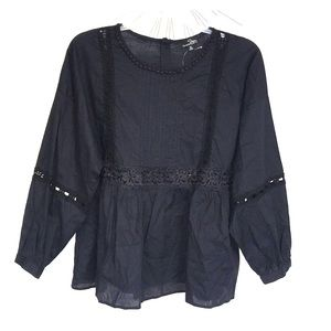 NWT Suzanne Betro Black Balloon Sleeve Blouse XL